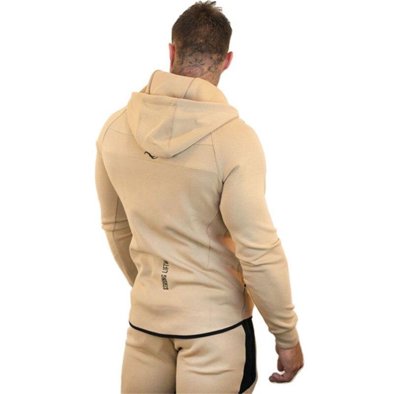 GYMLOCKER hommes ensemble 2018 vêtement de sport à capuche sweat survêtement décontracté vêtement d'extérieur à glissière 2 PC Hoodies + pantalons ensembles homme - 3