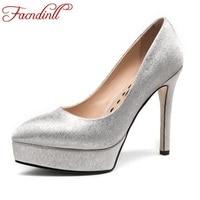 FACNDINLL vrouwen zilver wit sexy hoge hakken schoenen party wedding vrouw stiletto puntschoen klassiekers dames pompen elegante jurk