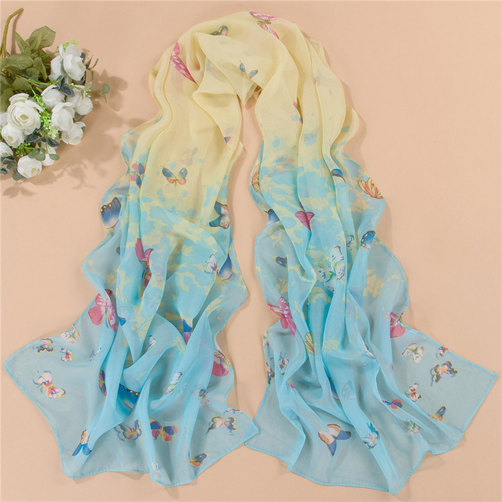 Women Chiffon Butterfly Floral Printed Long Shawl Soft   Scarves     Wraps   Sunscreen Cape
