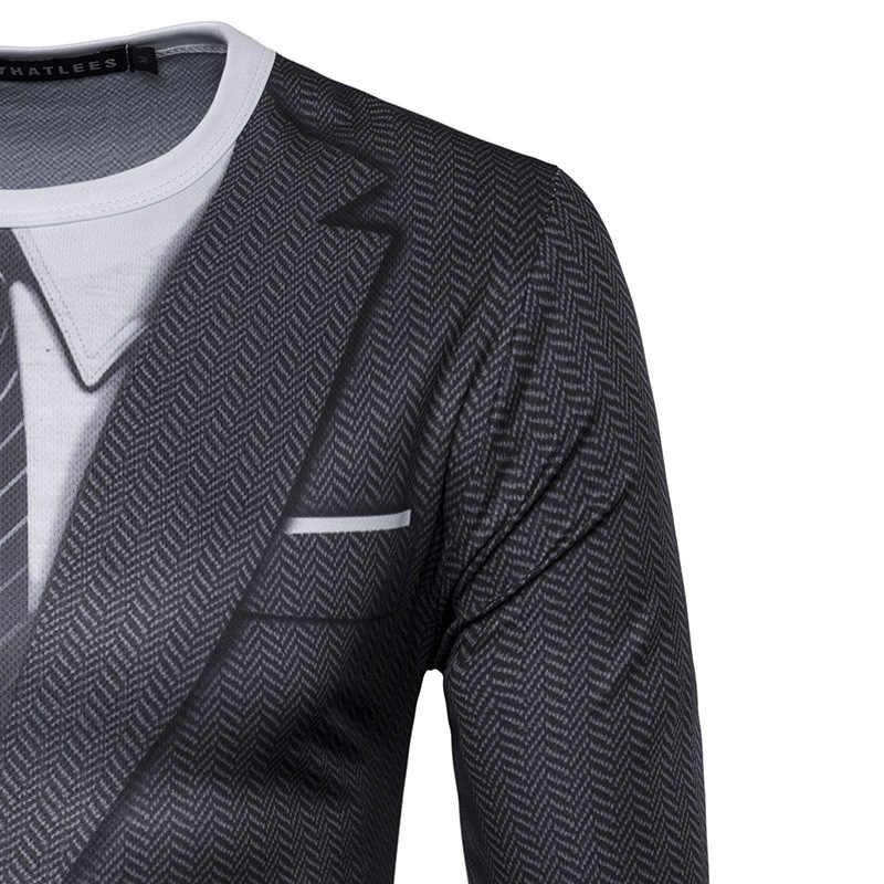 חליפה מזויף 3D חולצה הדפסת 2017 סתיו O צוואר גברים Harajuku חולצה מצחיק T Slim Fit זכר היפ הופ חולצה Camisetas Masculina