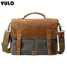 YULO Mens Vintage Leather Canvas Bag Business Briefcase Large Capacity Shoulder Simple fashion handbag New leather bag