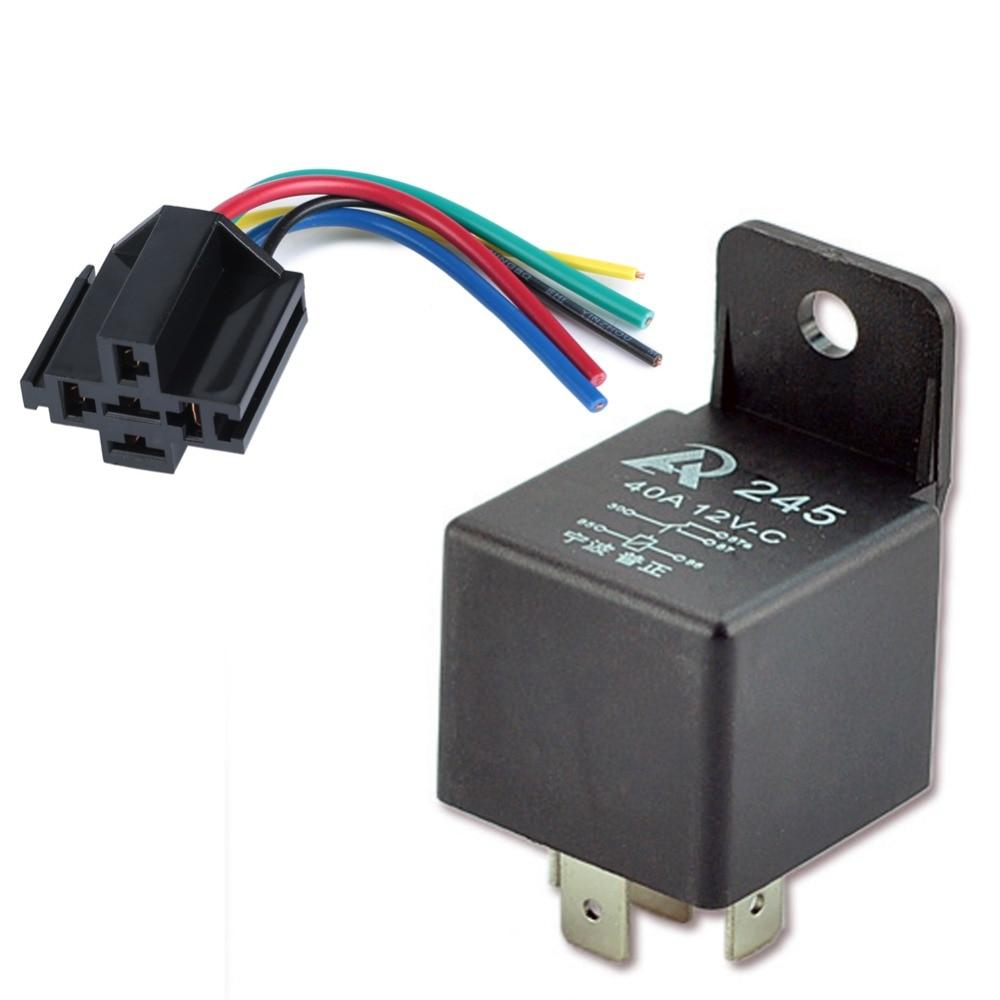 5 Set Car Relay  U0026 Socket 12v 40a 5 Pin Spdt 5p Wire 17awg