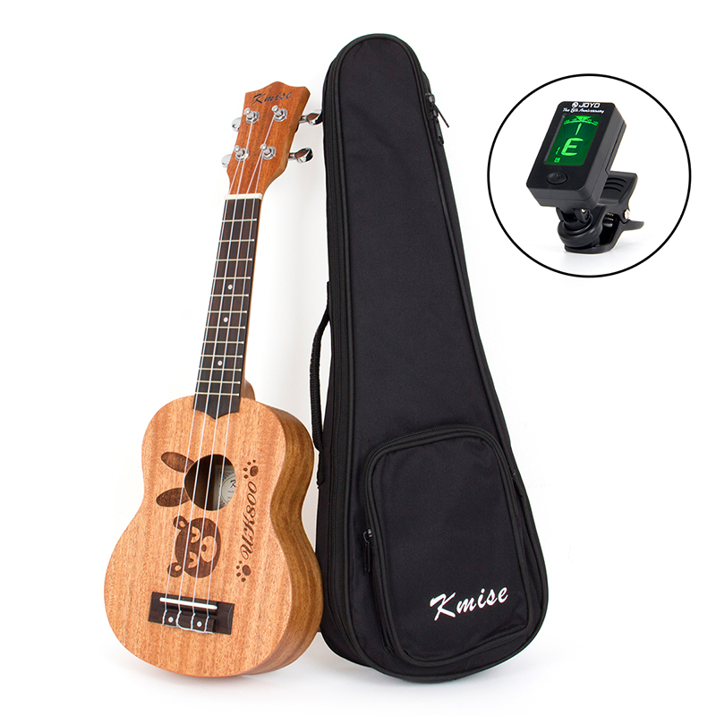 Kmise Soprano Ukulele Mahogany Ukelele Uke 21 inch 4 String Hawaiian Guitar 12 Fret with Gig Bag Tuner soprano concert tenor ukulele bag case backpack fit 21 23 inch ukelele beige guitar accessories parts gig waterproof lithe