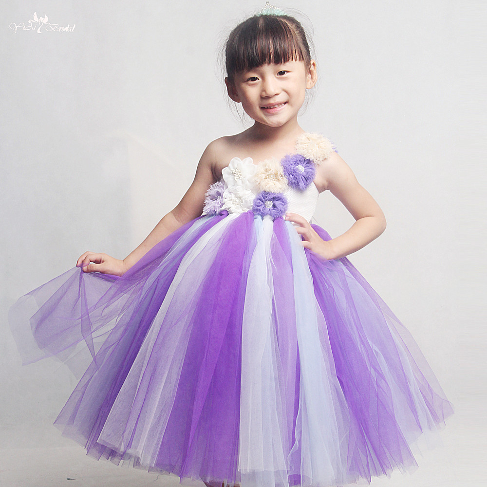 FG61 Real Pictures Yiaibridal One Shoulder   Flowers   Purple   Flower     Girl     Dresses