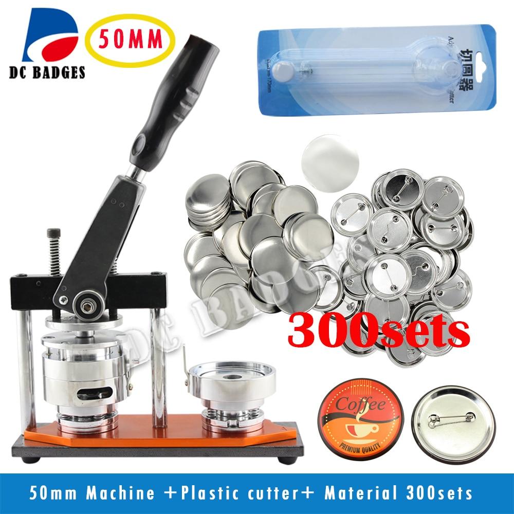 Free Shipping High Quality 2 50mm Badge Button Maker Machine +Circle Cutter+300 Sets Metal Pinback Supplies