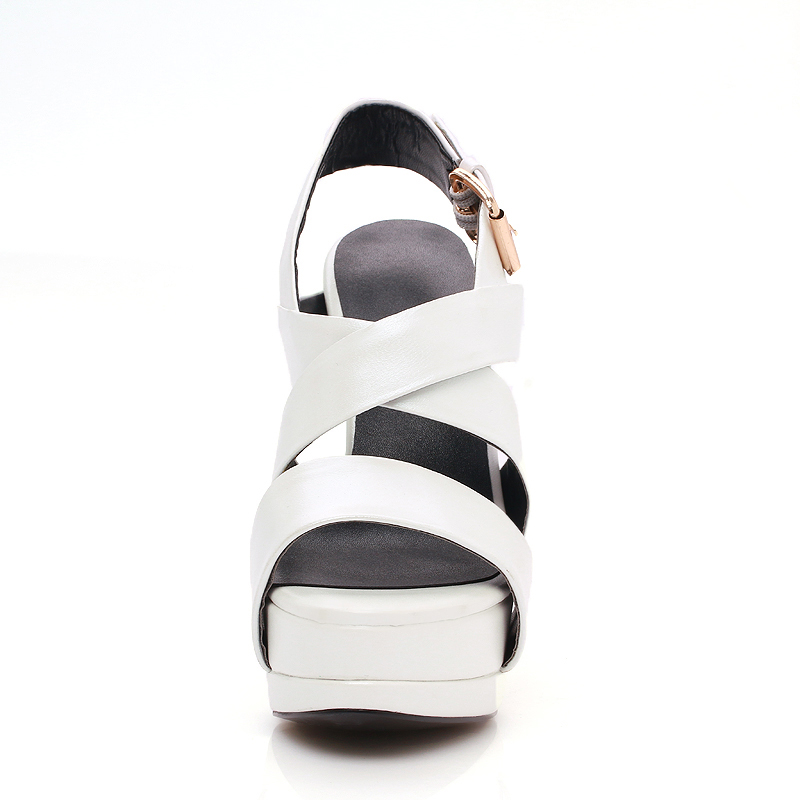 Tacón Con Oveja blanco Cuero Sandalias De Negro Genuino Gladiador Para Mujer Piel Zapatos Fiesta Doratasia Plataforma 2018 Alto Verano xA0IOR