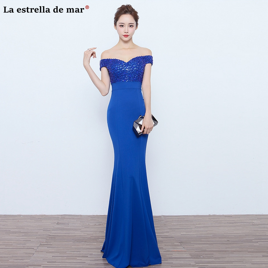 vestidos para madrinhas de casamento 2019 new satin beaded Boat Neck short sleeve royal blue sexy mermaid   bridesmaid     dresses