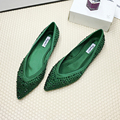 2017 Spring V-Shaped Shoes Single Silk Satin Surface Green Flats Heeled Rhinestone Autumn Pointed Scoop Shoes For Women Woman