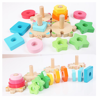 Baby Kids Rainbow Wooden 4 Column Blocks Sets Educational Geometric Shape Matching Toys for Children Animal