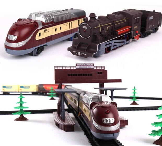 Free shipping! 1/87 model railroading 9.4 Meters electric train Track electric toy trains for kids Railroad truck children gift