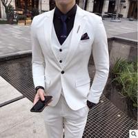 2018 White Green Gray Mens Groom Wedding Suits 3 Pieces(Jacket+Pants+Vest) Banquet Tuxedo Mens Dress Suits Plus Size 3XL