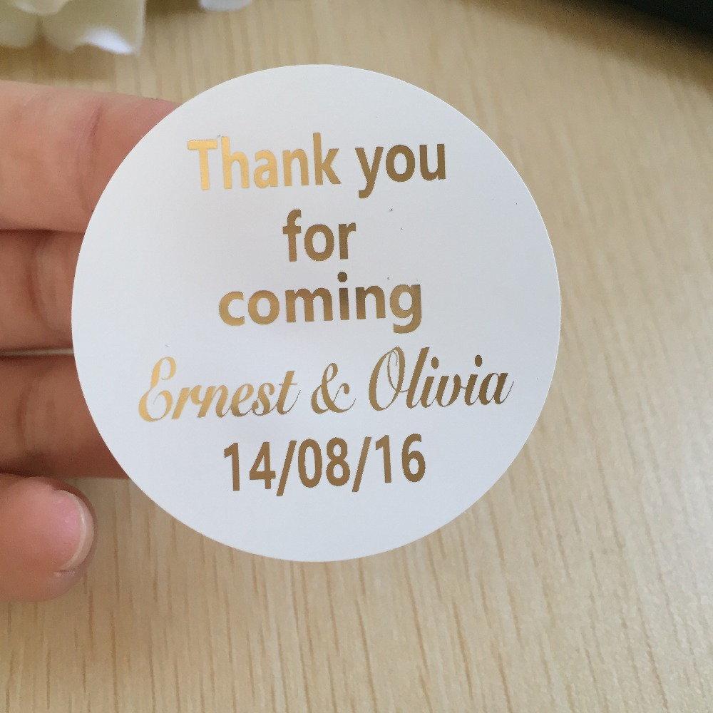 5 Cm Wedding Personalised Thank You For Coming Favors Stickers Name Label Invitation Envelop Seals Supplies In Gift Bags Wring From Home