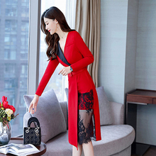 2019 Spring New Sexy Temperament Long Sleeves Simple Womens Fashion Slim Waist Slimming Lace Stitching Dress