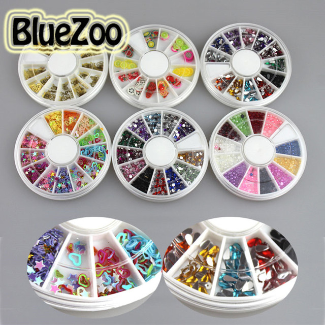 BlueZoo 2mm 4mm 6 Wheels 3D Nail Decoration 12 Different Colors Rhinestone Decoration Glitter Decoration