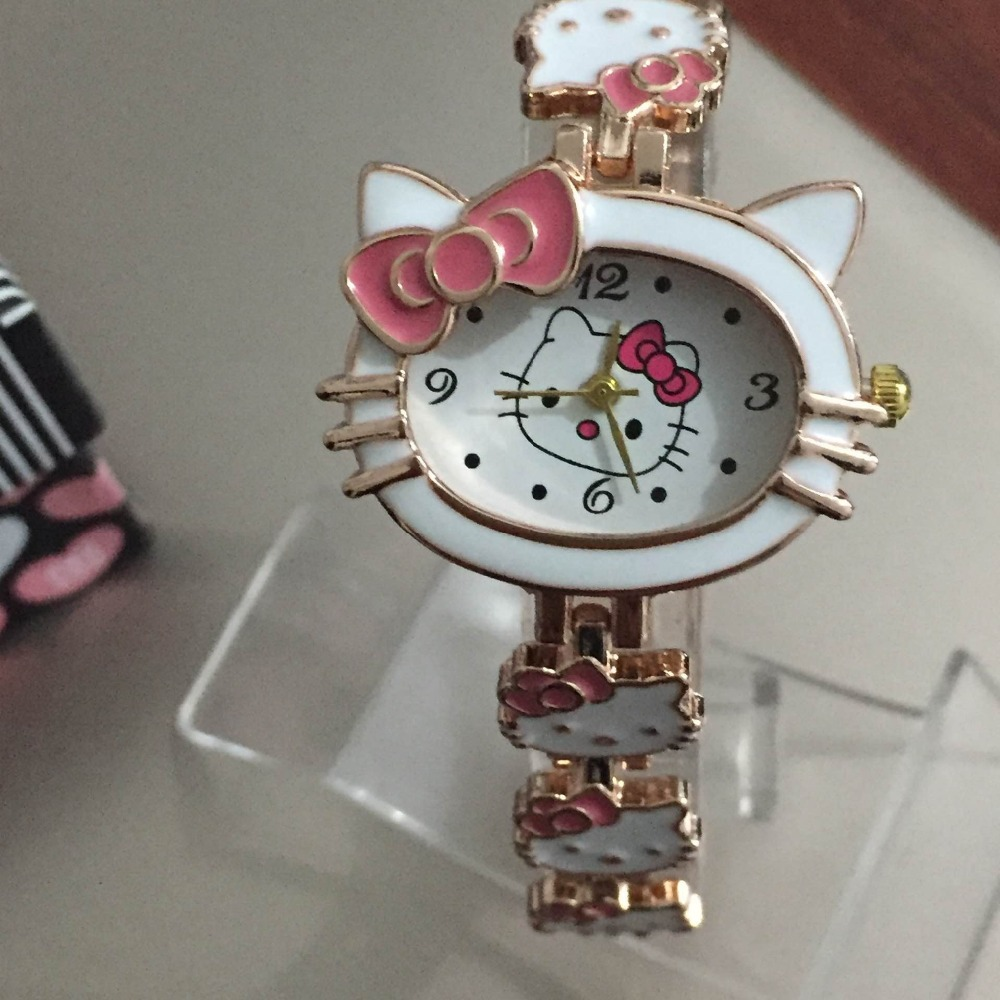 af90a4307 2018 New Hello Kitty Clock Fashion Ladies Quart Watch Vintage Cartoon  Wristwatches Girl Brand Quartz women Kids Watches