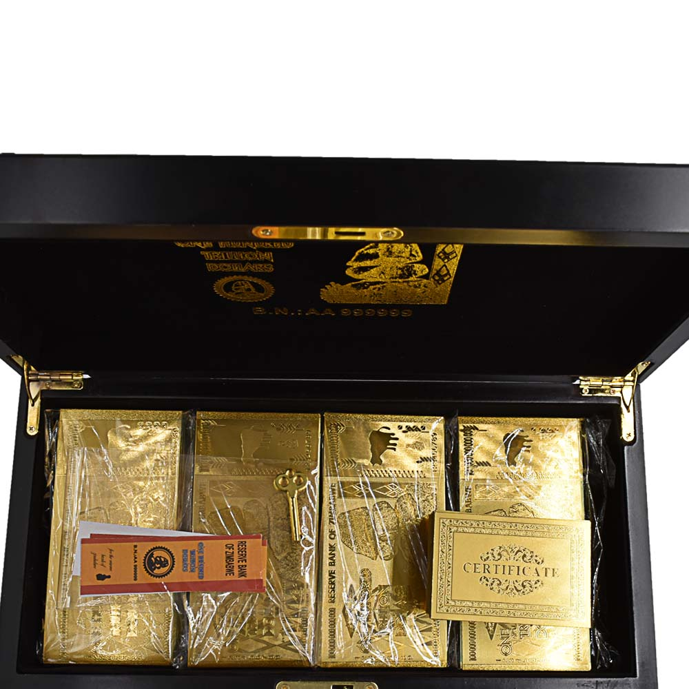 1200pcs Zimbabwe Gold Banknote with Zimbabwe Wooden Box Home Decorative One Hundred Trillion Dollar Fake Money Dropshipping in Gold Banknotes from Home Garden