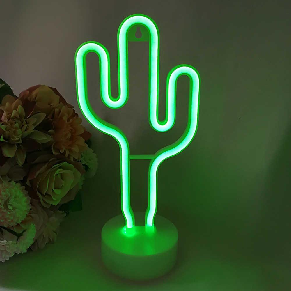 3D bonito Decoração da Lâmpada Lâmpada de Néon Flamingo/Cactus/Sinal de Néon do DIODO EMISSOR de Luz Da Lua para Fontes Do Partido Decoração de Casa lâmpada para Quarto de Crianças