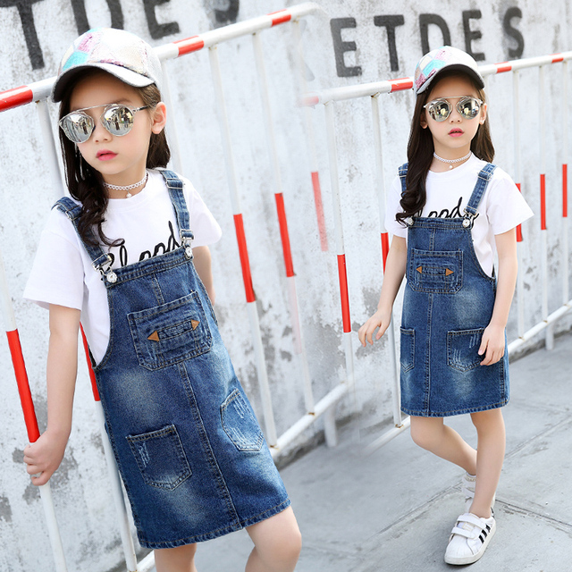 7551c09997fc2 Cute toddler girl clothing party overall dress denim suspender strap summer  2018 cowboy jumpsuit dress Jean Sundress casual baby