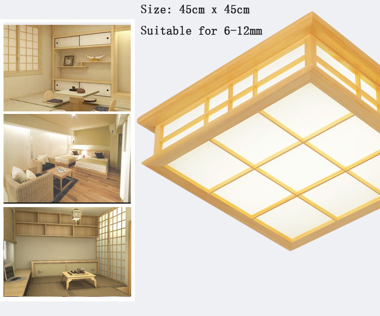 Japanese Style Delicate Crafts Wooden Frame Led Ceiling Light Luminarias Para Sala Dimming Led Ceiling Lamp Punctual Timing Lights & Lighting Ceiling Lights