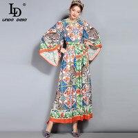 LD לינדה דלה 2018 אביב הקיץ חדש מסלול מקסי שמלת הנשים Loose שרוול התלקחות ארוך חג הדפסת נמר פרחוני שמלת