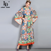 LD LINDA DELLA 2018 Primavera Verão Novo Runway de Maxi Dress mulheres Manga Alargamento Solto Leopard Print Floral de Férias de Longa vestido