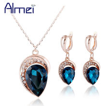Almei 49% off Rose Gold Color Jewelry Sets Necklace Ladies Jewellery Set Bohemian Earring Pendants Big Red Blue Stones JS0101(China)