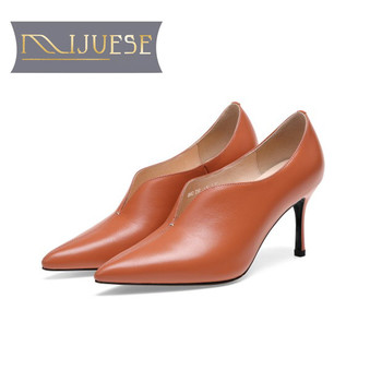 MLJUESE 2019 women pumps cow leather autumn spring  pointed toe shallow thin heel high heels pumps party dress wedding