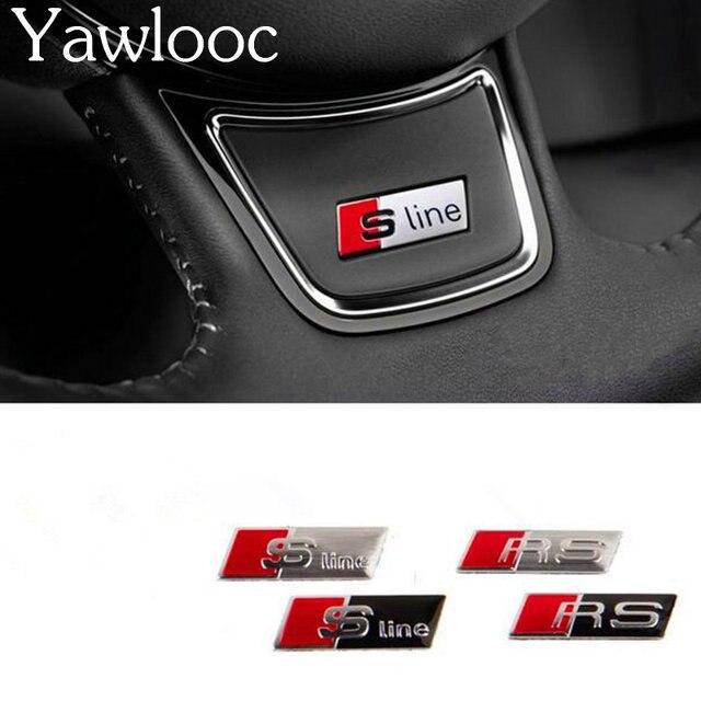 Yawlooc 1 stk/partij Auto Styling RS Sline S line Stuurwiel auto Sticker 3D Aluminium Stuurwiel Badge Emblem Voor Audi
