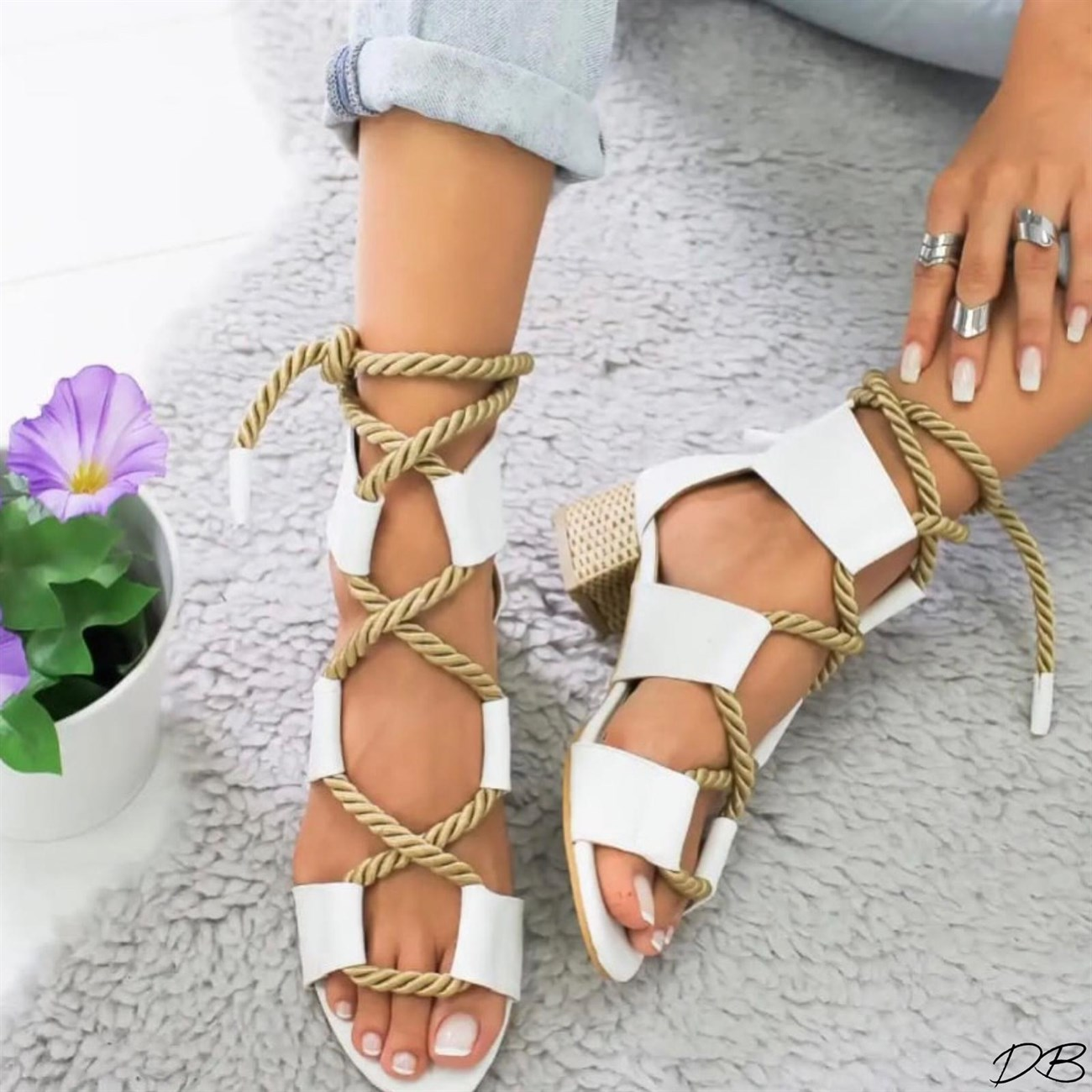 White Bohemian Women Sandals Mid Heel Pointed Fish Mouth Shoes Lace Up Platform Sandals