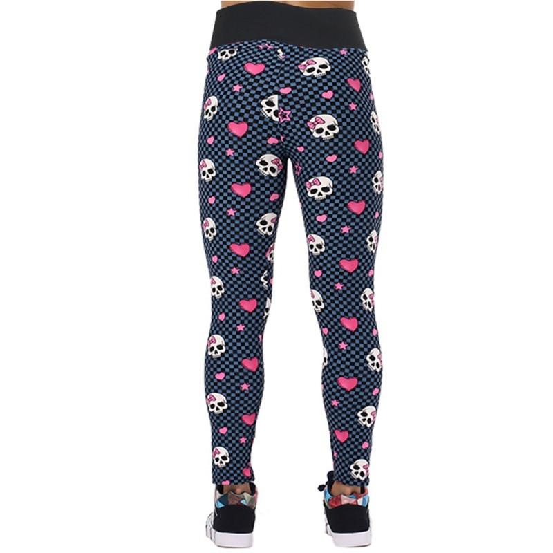 Women Pirate Costume Leggins Pants Digital Printing FUNNY SKULLS Loving Heart Printed Leggings Girl
