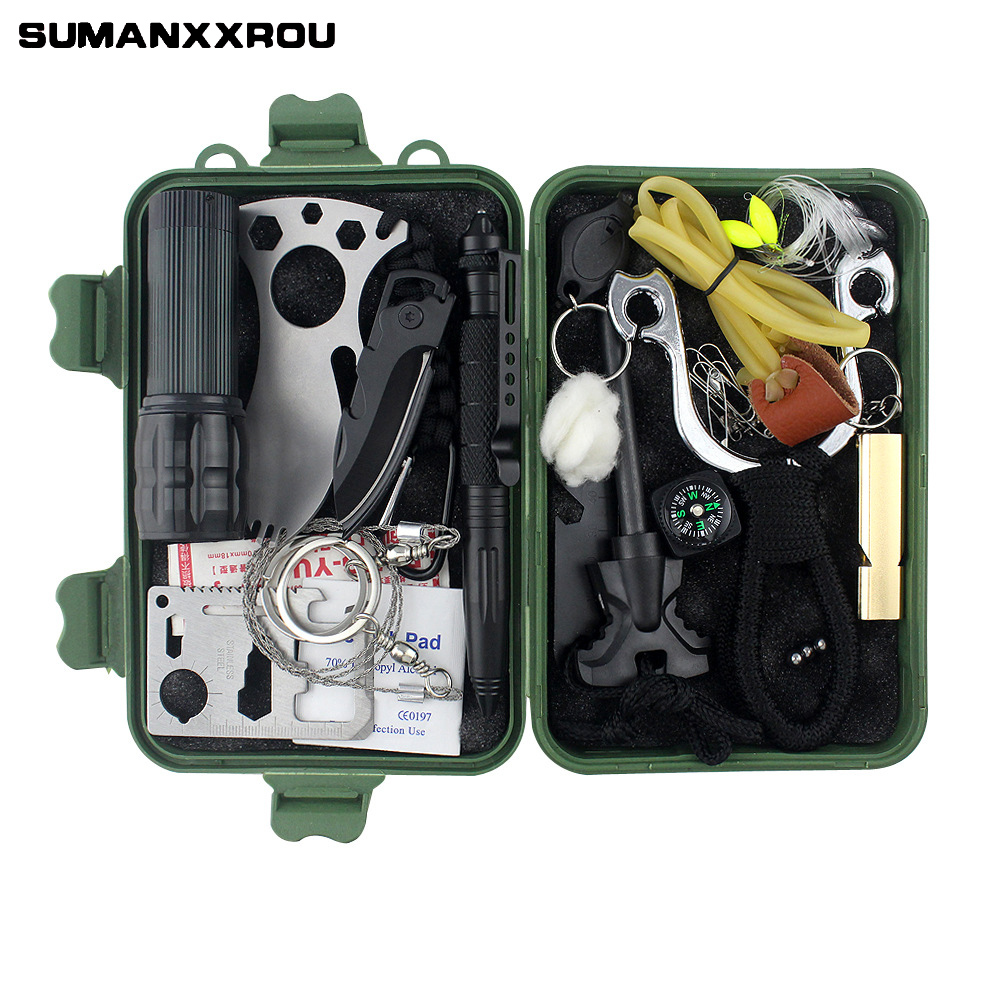 22pcs/set Waterproof Safety Equipment Case Dry Portable Tool Box Outdoor Fishing Tools with Hook Line Knife Flashlight 19*12.5cm