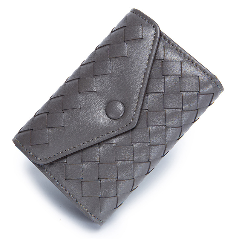 Hasp Folding Sheepskin Real Leather Woven Envelope Organ Small Womens Wallet Coin Purse Card Package Women Coin Bag ID Holders