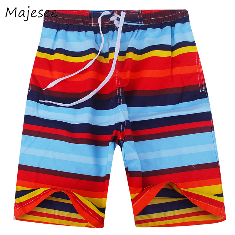 Beach Men Board Short Mens Quick-dry Shorts Summer Male Striped Loose Breathable Colorful Fashion Korean Style Elastic Waist New Board Shorts