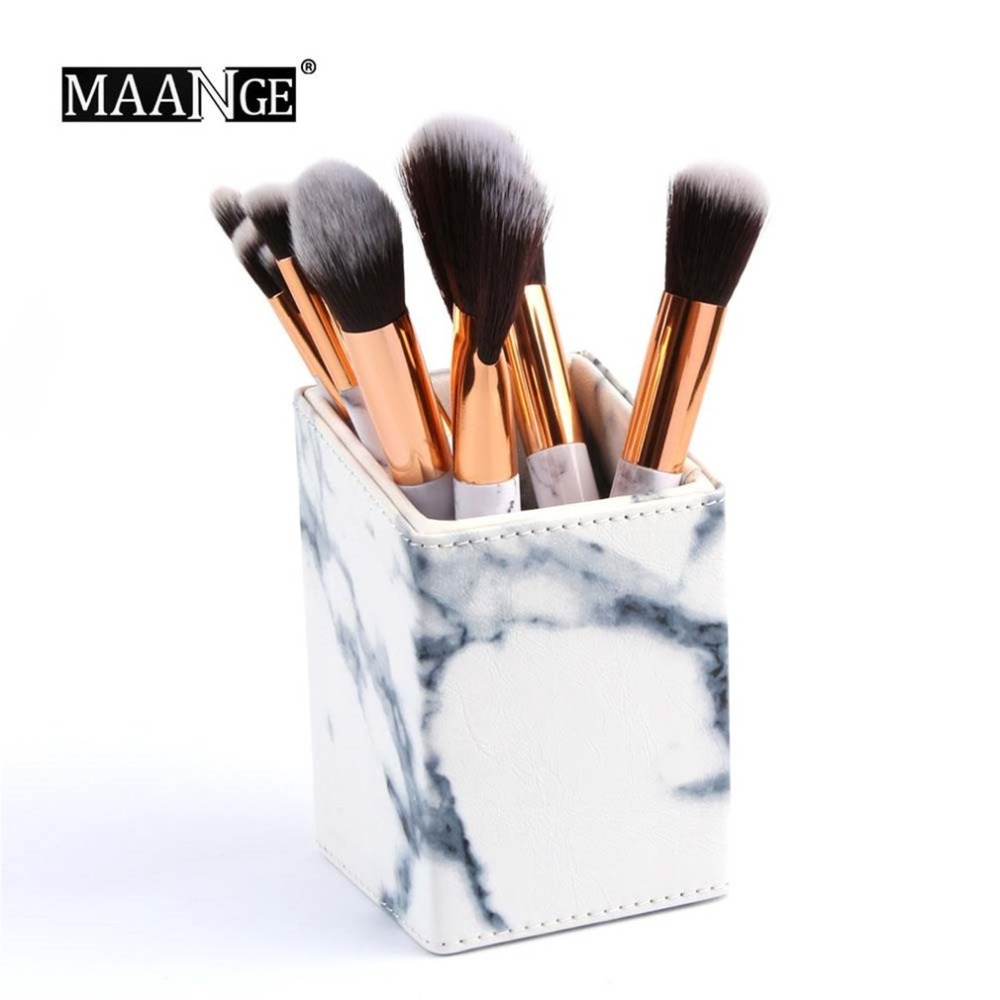 High Class Marble Pattern Makeup Brushes Organizer Portable Pen Storage Holder Cosmetic Brush Container Case Make Up Tool