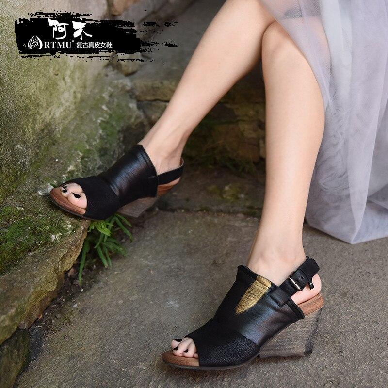 Artmu Original Retro Keile Heels frauen Sandalen Offene spitze Schaffell High Heels Echtes Leder Handmade Schnalle Sandalen 338  7-in Hohe Absätze aus Schuhe bei  Gruppe 1