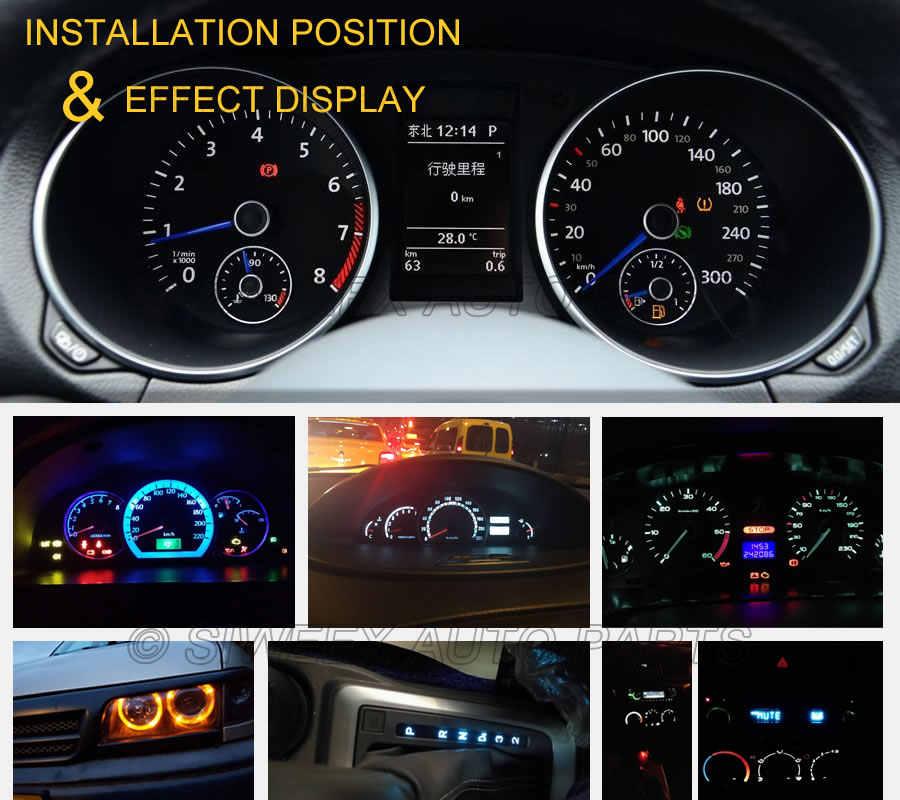 10 шт. T5 светодиодный авто светодиодный 3 светодиодный smd 3528 Клин светодиодный светильник лампа приборная панель инструмент белый розовый, ледяной голубой красный желтый зеленый