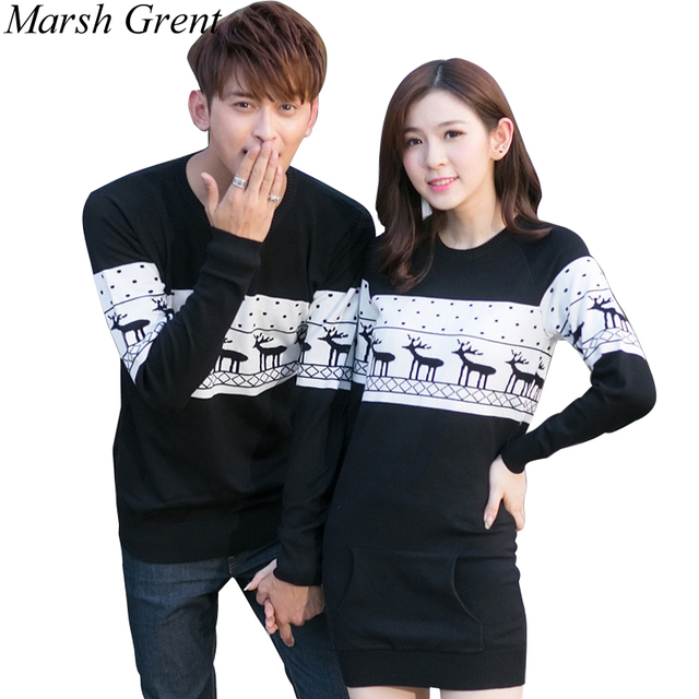 2016 christmas sweaters korean menswomen round collar long sleeve pullover sweaters plus size matching