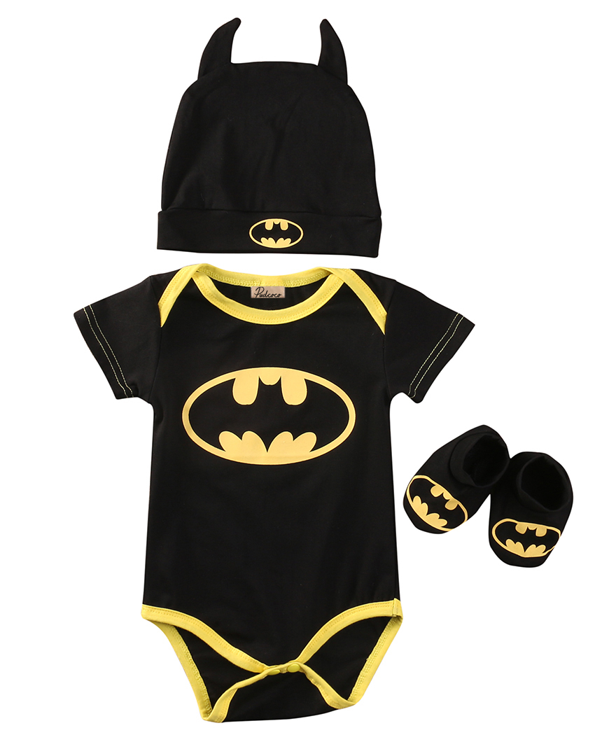 3pcs hot cute baby clothes baby boy girl cute cotton short sleeve batman romper jumpsuit+cartoon hat+shoes baby girl romper