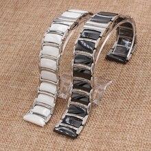 20 мм 22 мм Серебро нержавеющая сталь wrap керамическая ремешок для часов белый или черный смотреть полоса ремешок Бабочка Пряжка браслет