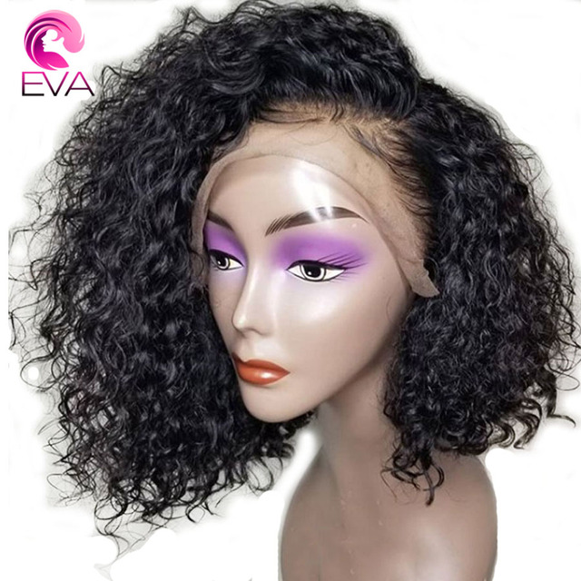 Eva Hair 150% Density 13*6 Deep Parting Lace Front Human Hair wigs Short Bob Wigs Bleached Knots Brazilian Remy Hair 8-16
