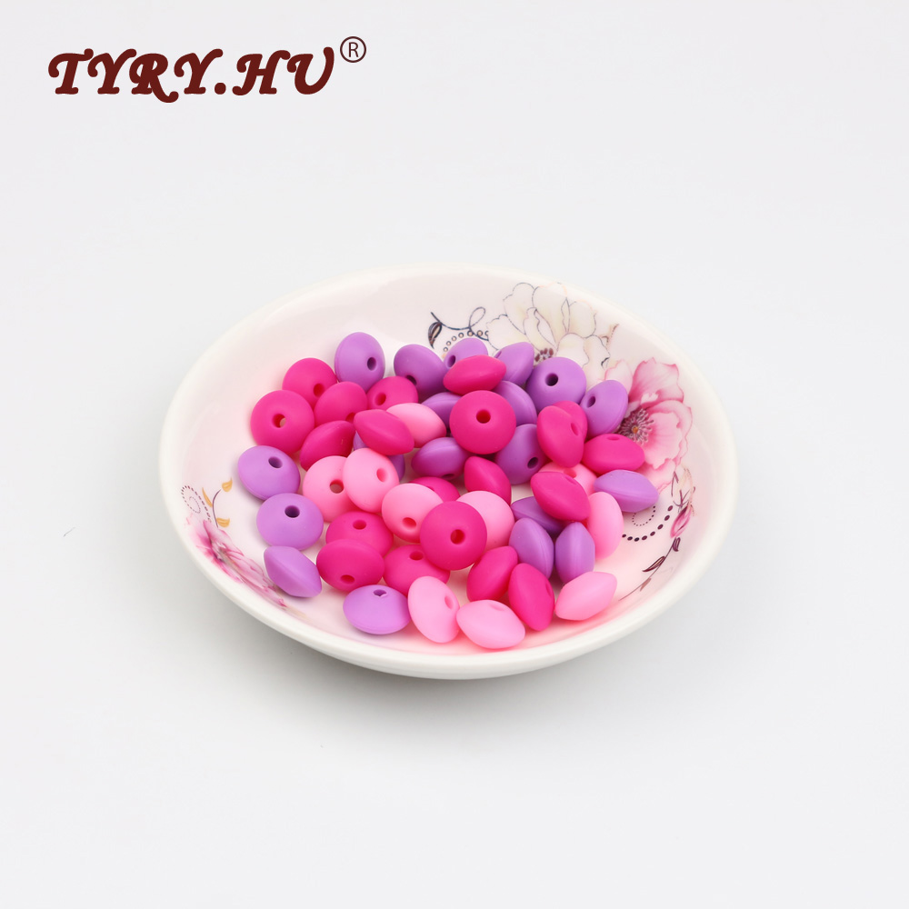 TYRY.HU 60Pcs Lentil Silicone Beads Food Grade Baby Teething Chewable Teethers Necklace Charm Nursing Pacifier Chain BPA Free