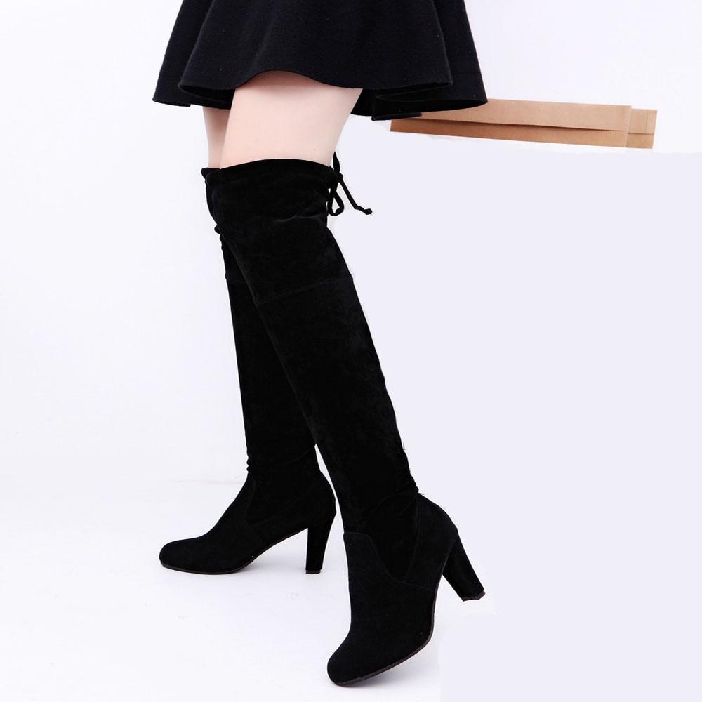 Estiramiento Zapatos La 2017 100 Rodilla Altos Otoño gray Tacones Moda Sobre Xiniu Mujeres Invierno Natural Adelgazan Botas E Faux Black aFw40
