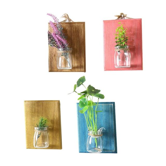 Wood Flower Pot Wall Hanger Wooden Rack Storage Plant Holder Home Gl