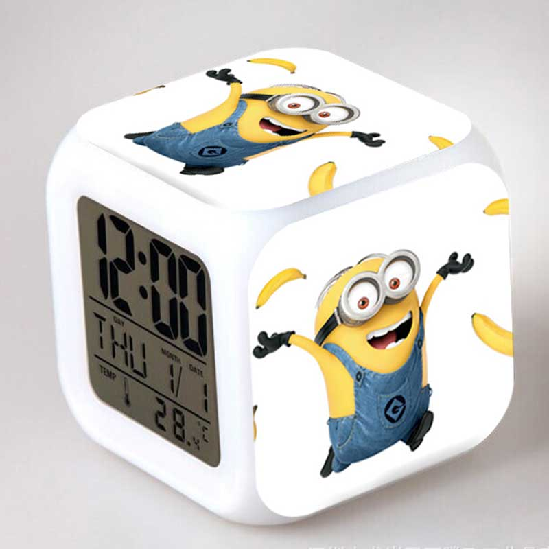 ФОТО minions despicable me clock toy led colorful glowing light with alarm thermometer lovely toys for children gift