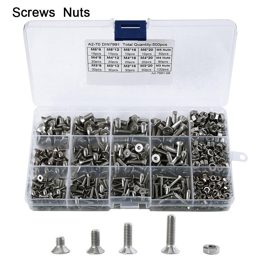 купить 500pcs/set Button Screws Head Hex Socket Screw Bolt Nut Stainless Steel Nuts Assortment Kit Fastener Hardware по цене 809.85 рублей