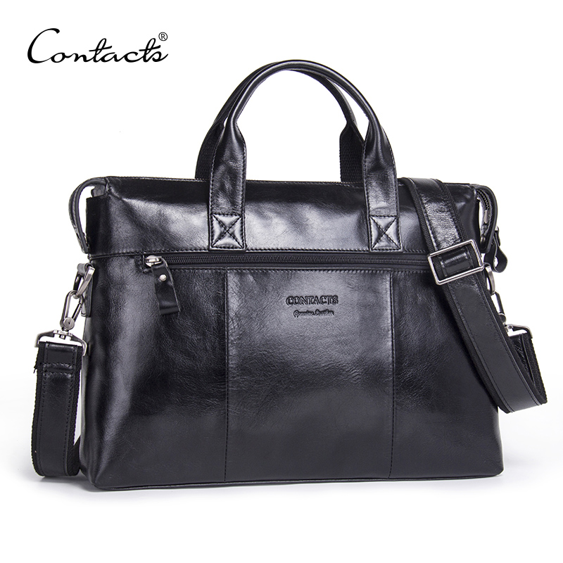 CONTACT'S Genuine Leather Men Bag Male Casual Laptop Briefcases Tote Shoulder Crossbody Bags Messenger Mens Business Office Bag contact s genuine leather men bag men briefcases male shoulder business computer laptop bags crossbody bags mens messenger bag