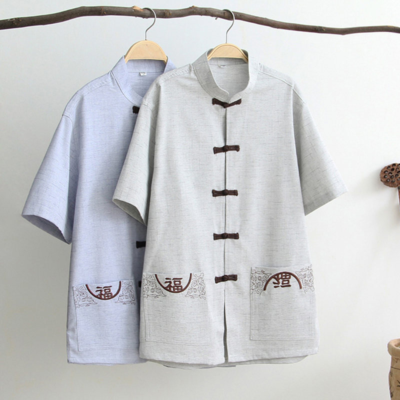 G-LIKE Summer The Elderly Chinese Style Short Sleeve Pure Color Tang Suit Cotton Linen Martial Arts Sets