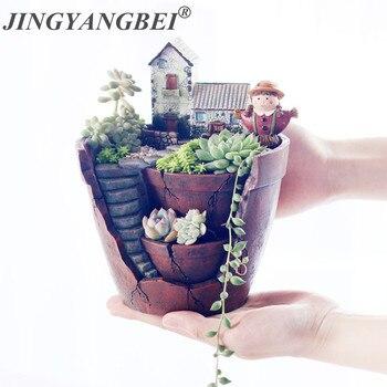 16985bf04 Flor de resina olla cielo Jardín Plantas florero plantas suculentas maceta  jardinera Mini Bonsai de Cactus Decoración