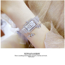 Fashion New Hot Chain Ladies Quartz Watch High-end Custom Rectangular Full Rhinestone