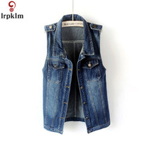 Denim Vests For Women Fashion Casual Loose Women's Sleeveless Jacket Summer New Street Fashion Jeans Women's Vest Jacket CH143